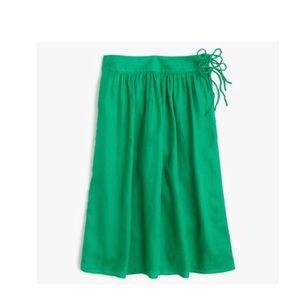 J. Crew green easy linen midi skirt with ties 4